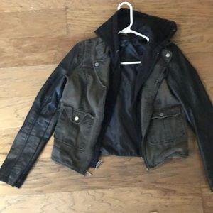 American Eagle leather hoodie jacket